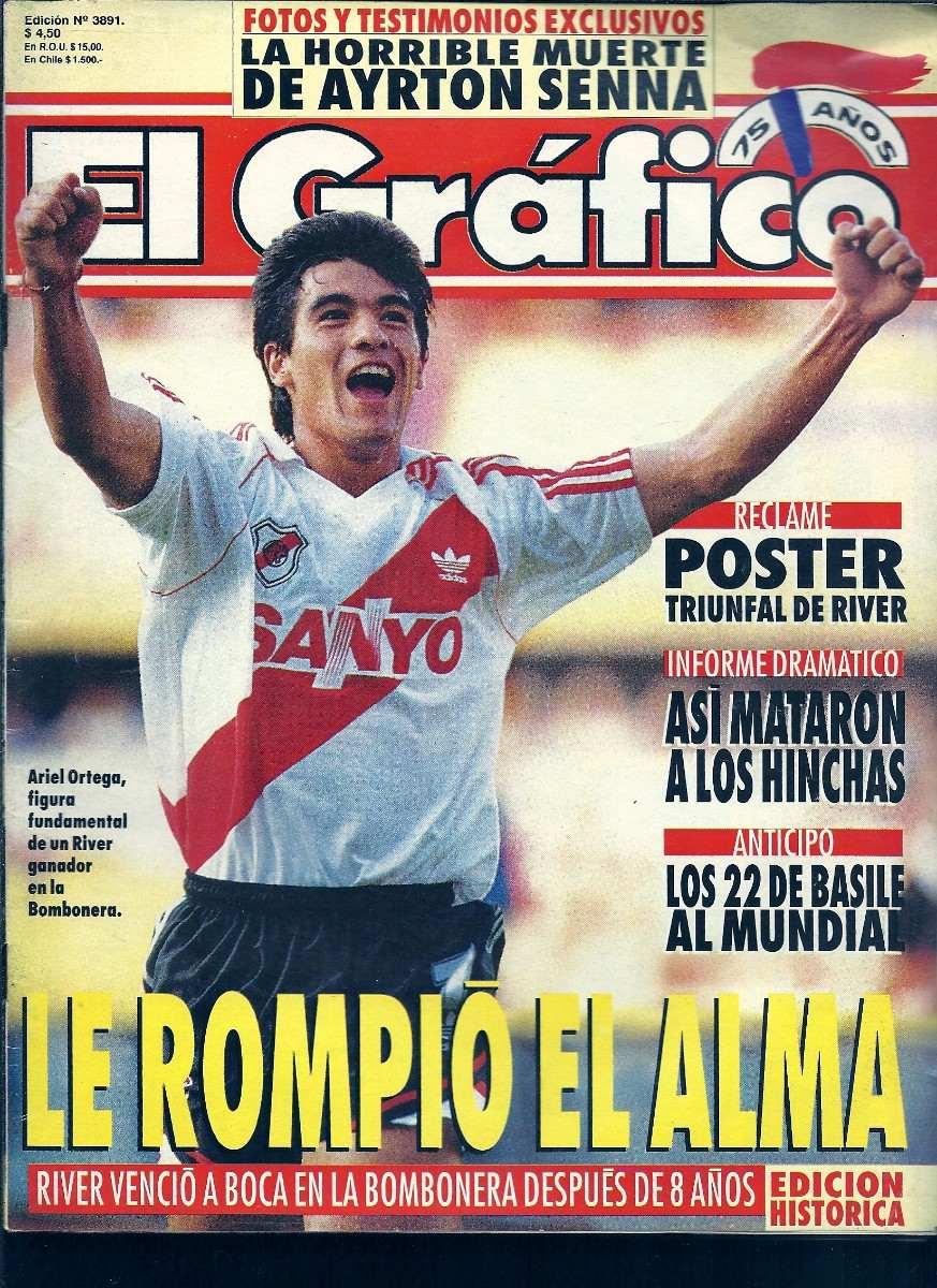 Portada de El Gráfico dedicada a Ariel Burrito Ortega tras vencer a Boca 0-2.