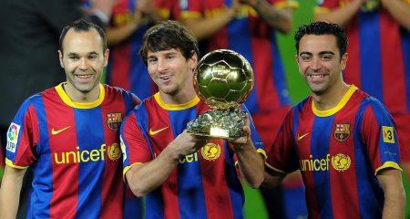La Masía copó los tres primeros premios del Balón de Oro en 2010: Messi, Iniesta y Xavi.