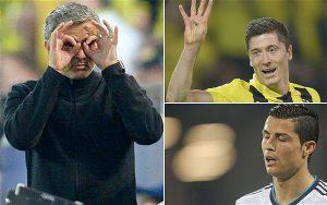 La exhibición de Lewandowski acabaría con el último Madrid de Mou. Mourinho contra Barcelona