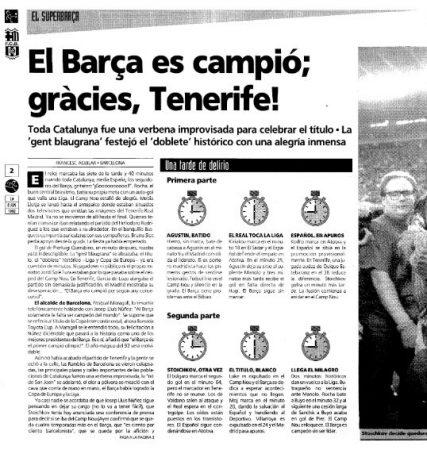 Artículo de un periódico catalán sobre el milagro de Tenerife.