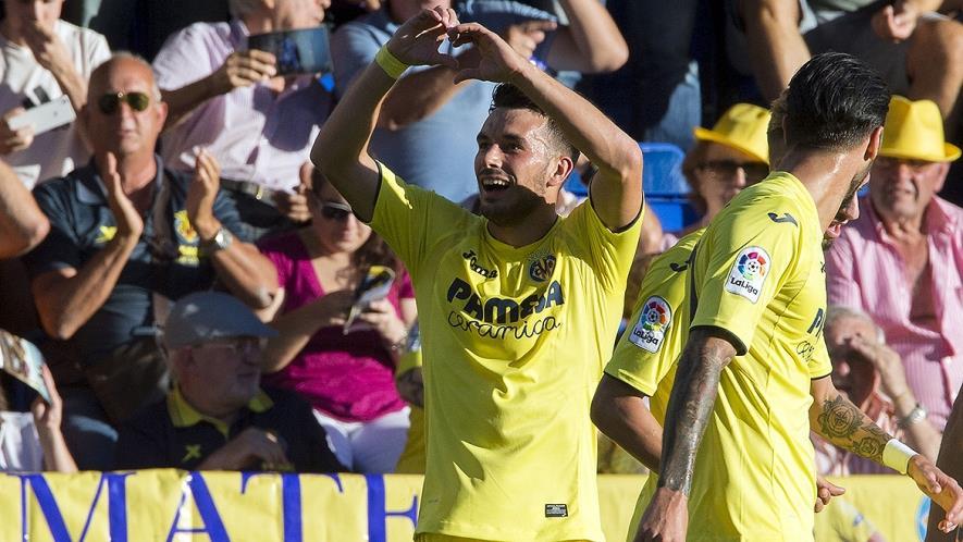 Nicola Sansone celebra un gol con el submarino amarillo. Imagen: Villarreal CF