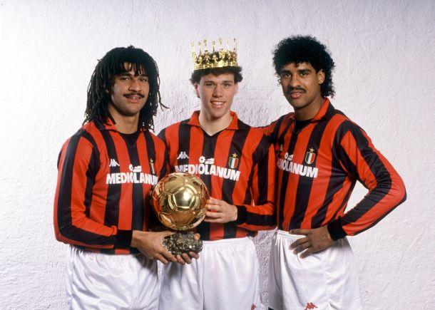 Rijkaard, Gullit y Van Basten en el AC Milan.