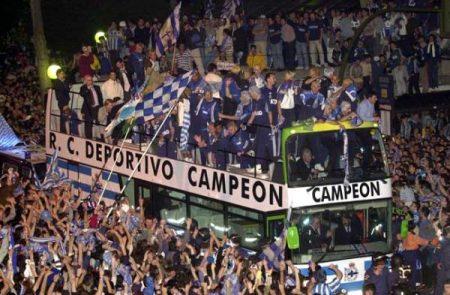 Los jugadores del SuperDépor (o EuroDepor) celebrando el título de Liga