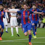 Sergi Roberto, celebrando el gol final de la remontada del Barça ante el PSG
