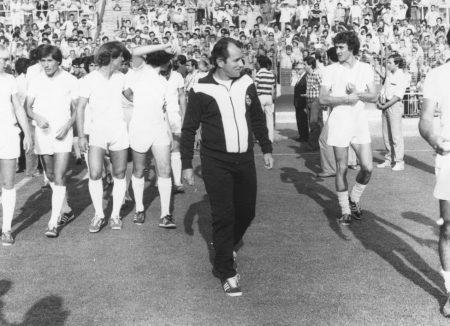 Vujadin Boskov en la presentación de la plantilla del Real Madrid en 1979.