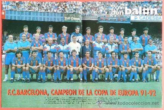 Plantilla del Barça campeón de Europa en Wembley en la temporada 1991-1992. Todocoleccion.