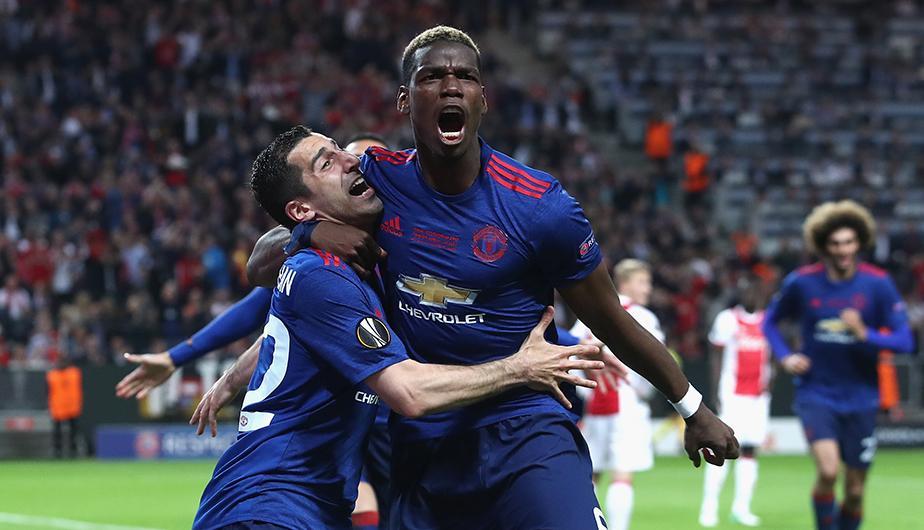 Manchester Campeón Europe League 2017. Pogba celebrando el gol junto a Mkhitaryan