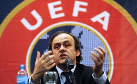 Platini en su cargo de presidente de la UEFA