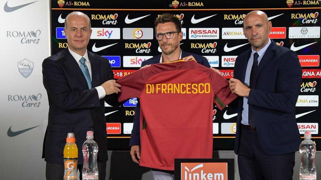 Roma 17-18. Di Francesco el día de su presentación junto a Monchi. foxdeportes.com