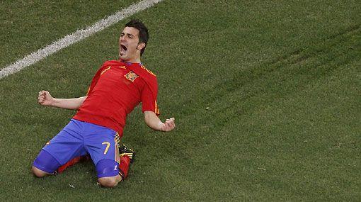 Villa festejando un gol durante el Mundial de 2010 disputado en Sudáfrica. dporteperu.blogspot.com.es