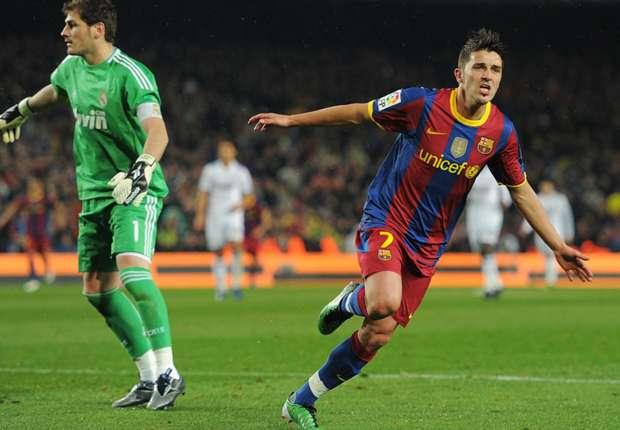David Villa celebrando un gol durante uno de los clásicos que disputó con el Barcelona. Goal.com