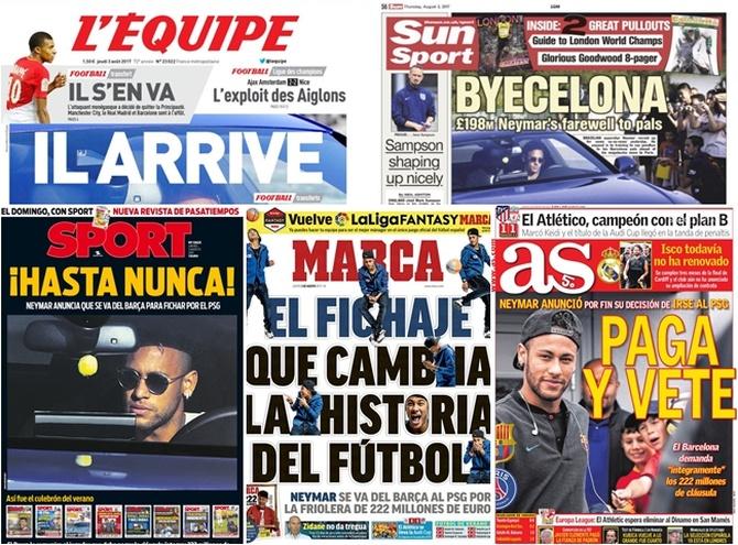 Neymar acaparó todas las portadas esta semana.
