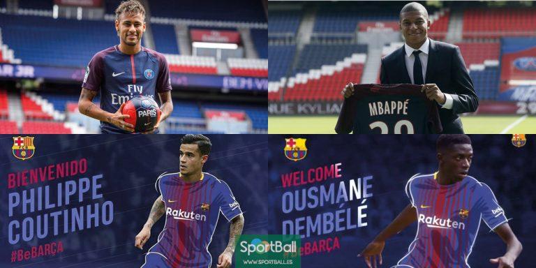 El PSG, con Neymar y Mbappé, y el Barça (con 5 casos), lideran los 20 fichajes más caros de la historia., con Coutinho y Dembélé, dominan la lista de los fichajes más caros de la historia del fútbol.