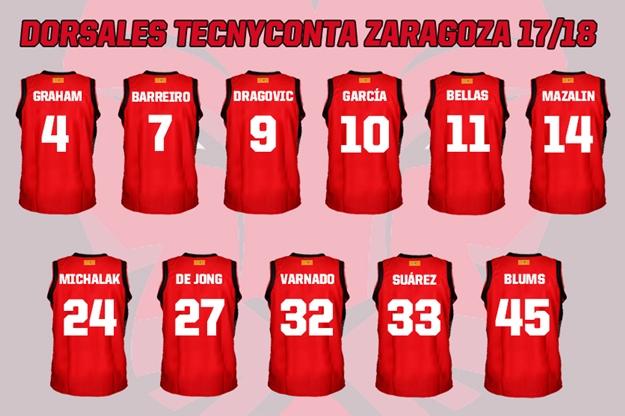 Tecnyconta Zaragoza 2017 18. Dorsales para esta nueva temporada.