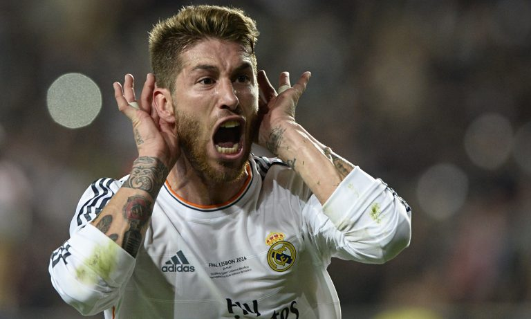 Sergio Ramos celebra el gol en la Final de Champions en Lisboa ante el Atlético..