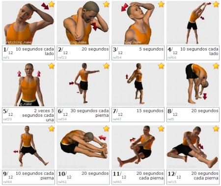 10 consejos para el postentrenamiento. Tabla básica de ejercicios de estiramiento. vmbustillo.com