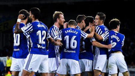 Celebración del primer gol de la Real Sociedad en Europe League ante el Vardar.