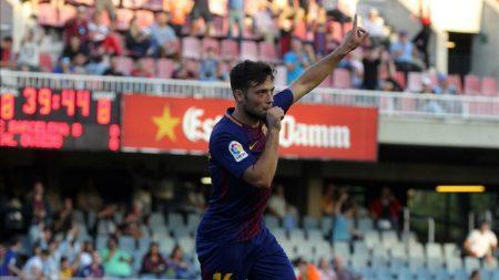 José Arnáiz celebrando un gol con el F.C Barcelona en el partido de Copa del Rey frente al Real Murcia.