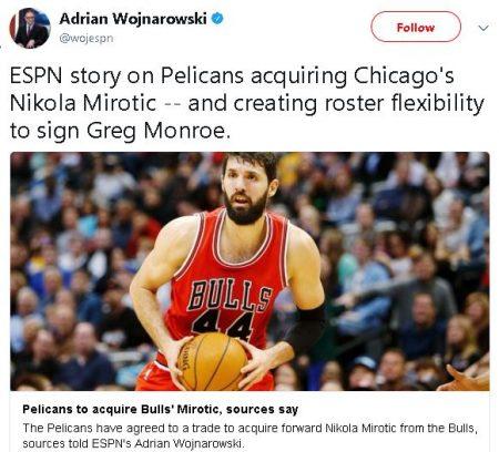 Nikola Mirotic traspasado a Pelicans, y puede llegar junto a Monroe.