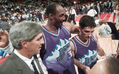Jerry Sloan, Karl Malone y John Stockton con Utah Jazz