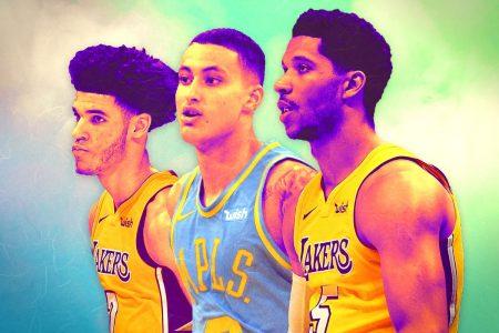 El futuro de los Lakers: Lonzo Ball, Kyle Kuzma y Josh Hart.