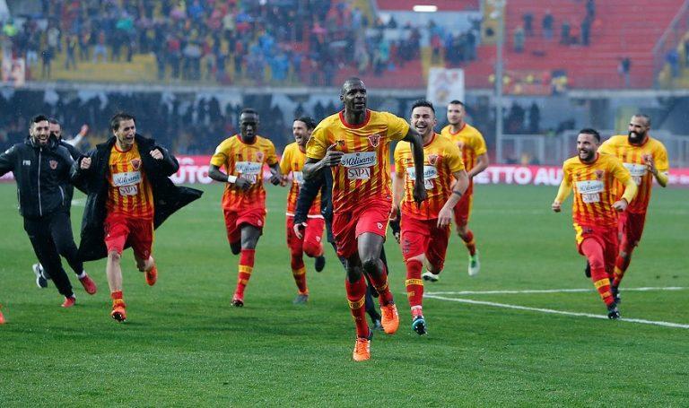 Jugadores del Benevento celebrando una de las victorias de la temporada