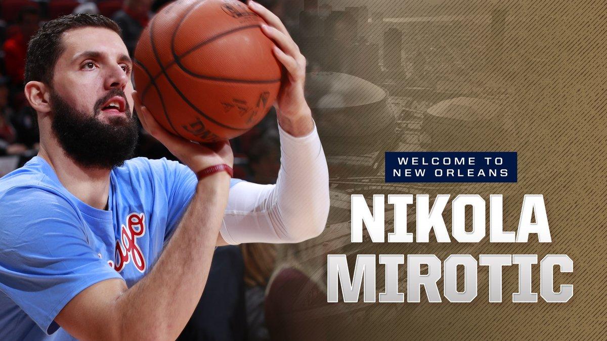 Nikola Mirotic traspasado a Pelicans. Con este imagen lo anunciaban los Pelicans.