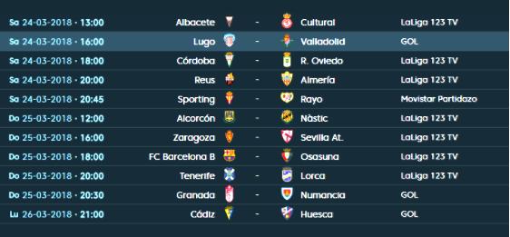 Partidos y horarios de la jornada 32 de la Liga 123.