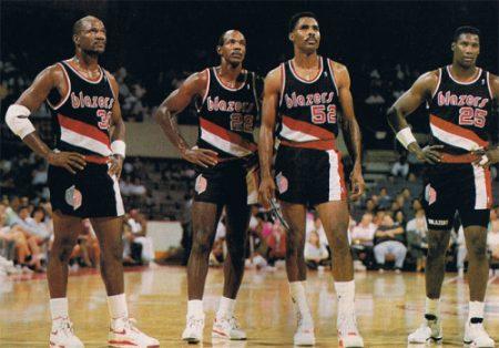 Terry Porter, Clyde Drexler, Buck Williams y Jerome Kersey, dos veces finalistas de la NBA con los Portland Trail Blazers.