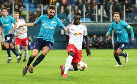 Augustin anotó el gol de la clasificación del Leipzig ante el Zenit.