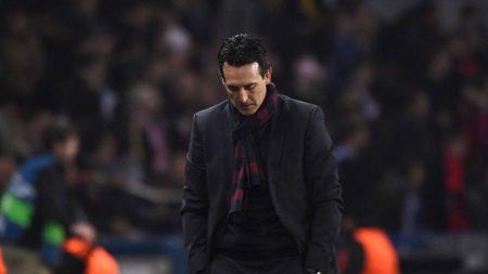 Unai Emery, tocado tras la eliminación del PSG a manos del Real Madrid.