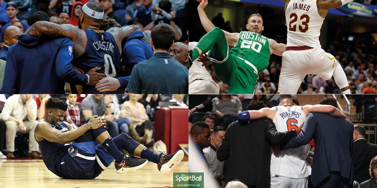 Lesionados en la NBA 17/18: Cousins, Hayward, Butler y Porzingis.