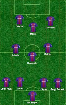 4-3-3, esquema de Valverde en la vuelta del Chelsea, con Dembélé como extremo.