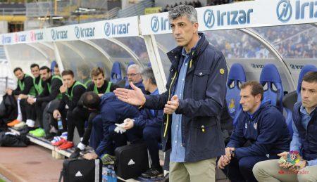 Alguacial, antes de comenzar el partido contra el Girona, donde apostó por varias caras nuevas. (LaLiga.es)
