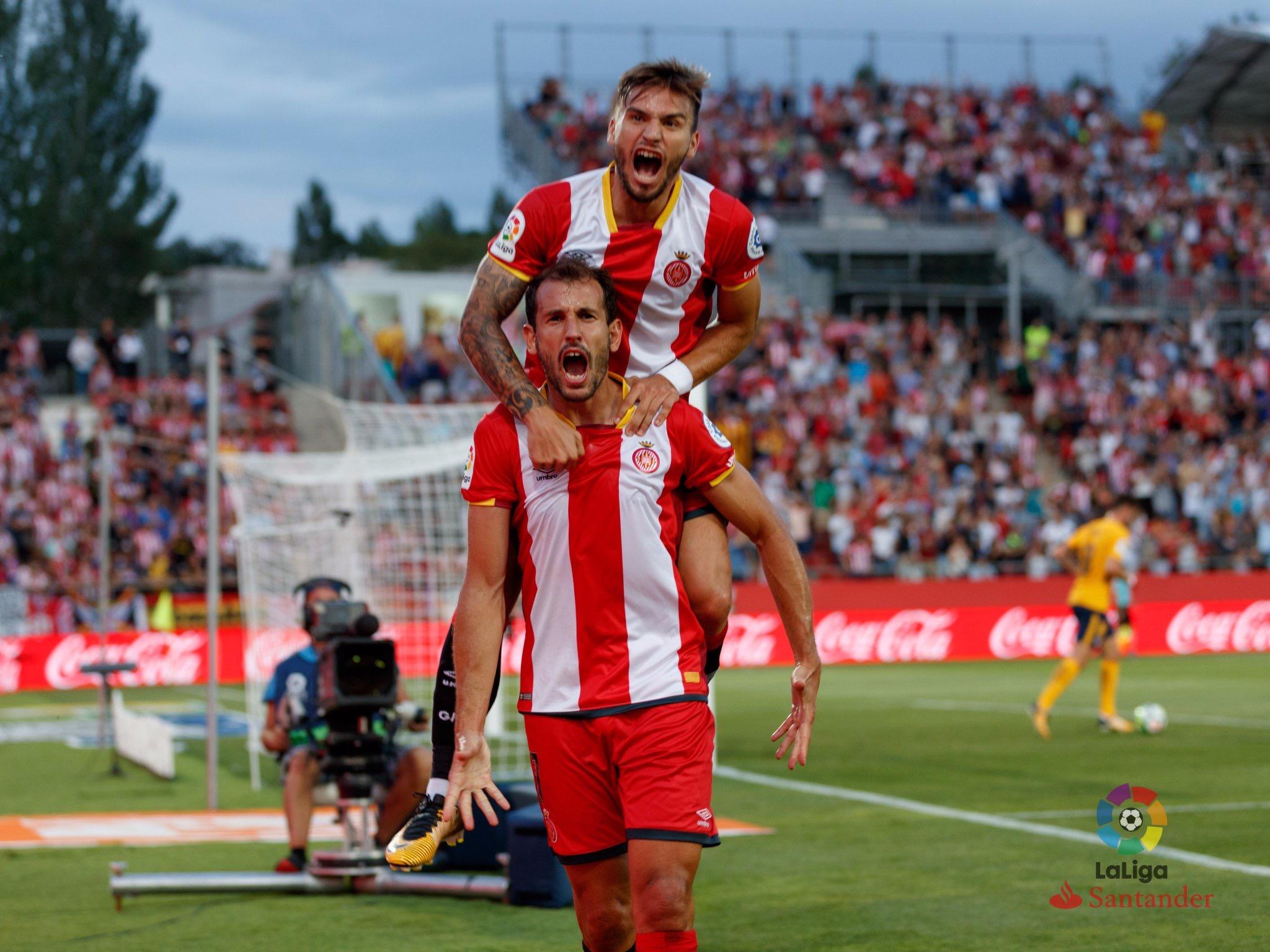 Asociación Stuani-Portu celebrando un gol