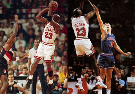 Jordan ejecutando su característico Fade Away