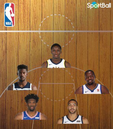 Quinteto defensivo de la NBA 2017-18: Oladipo, Butler, Durant, Embiid y Gobert.