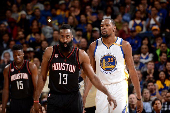Durant machaca a los Rockets en el primer encuentro. Imagen vía Conexión Deportiva