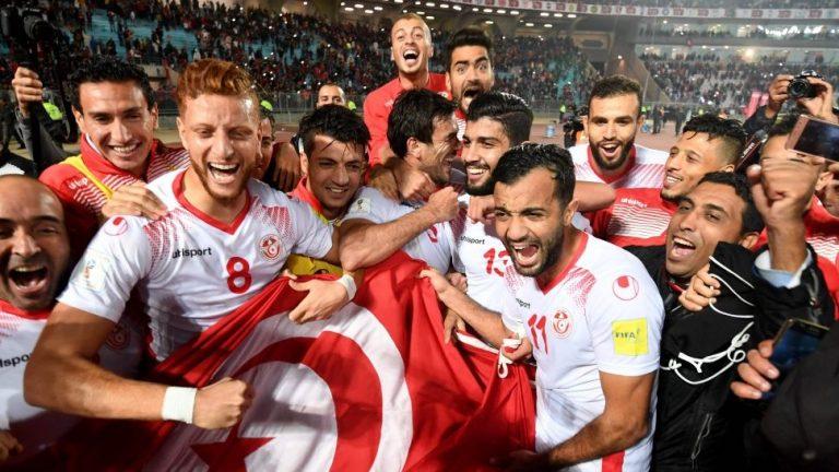 Túnez celebrando su clasificación al Mundial