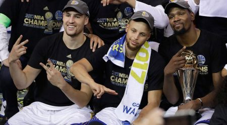 Klay Thompson, Stephen Curry y Kevin Durant
