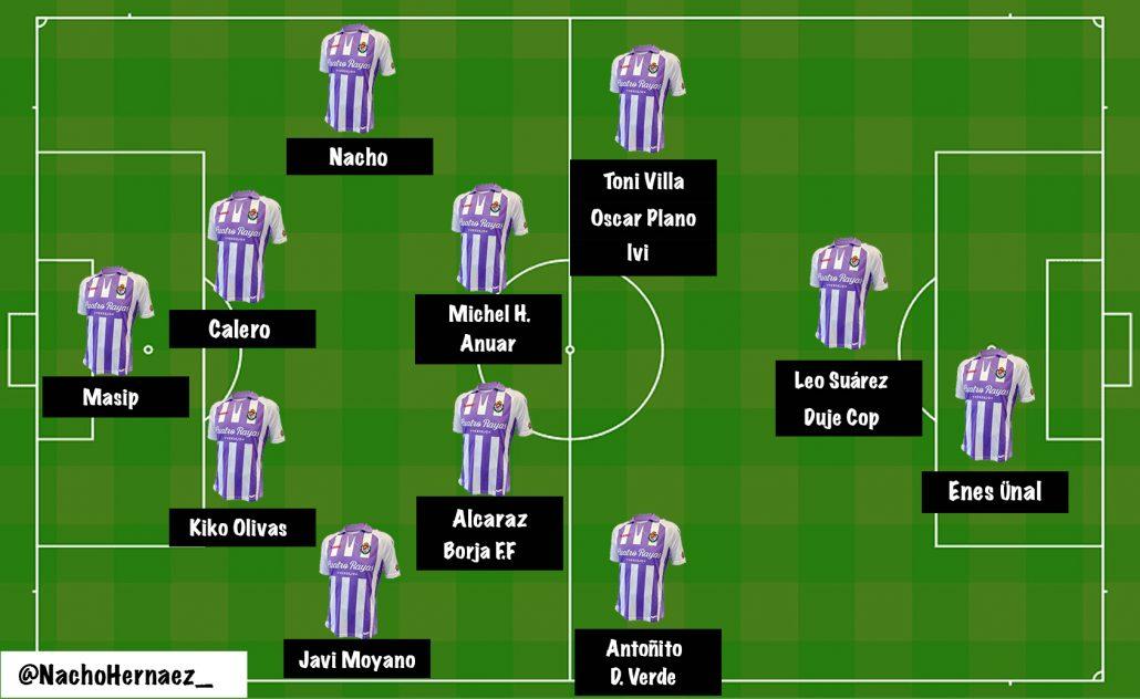 11 titular del Real Valladolid con Sergio González
