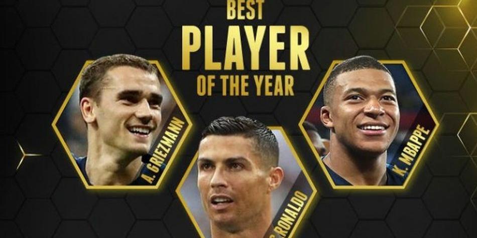 Globe Soccer Award 2018 Griezmann Cristiano Ronaldo Mbappe