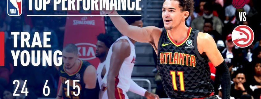 Trae Young brilló ante Miami Heat con 24 puntos y 15 asistencias.