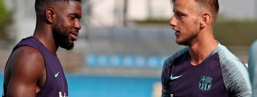 Umtiti y Rakitic pueden salir como consecuencia del fichaje de Frenkie de Jong por el Barcelona.