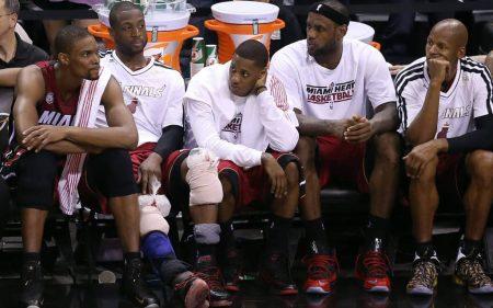 Chris Bosh Dwyane Wade Mario Chalmers LeBron James Ray Allen Miami Heat