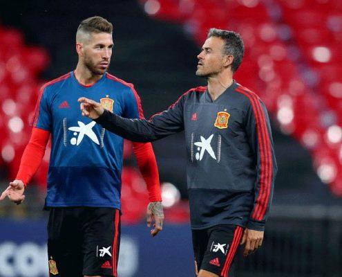 Sergio Ramos y Luis Enrique - Selección Española