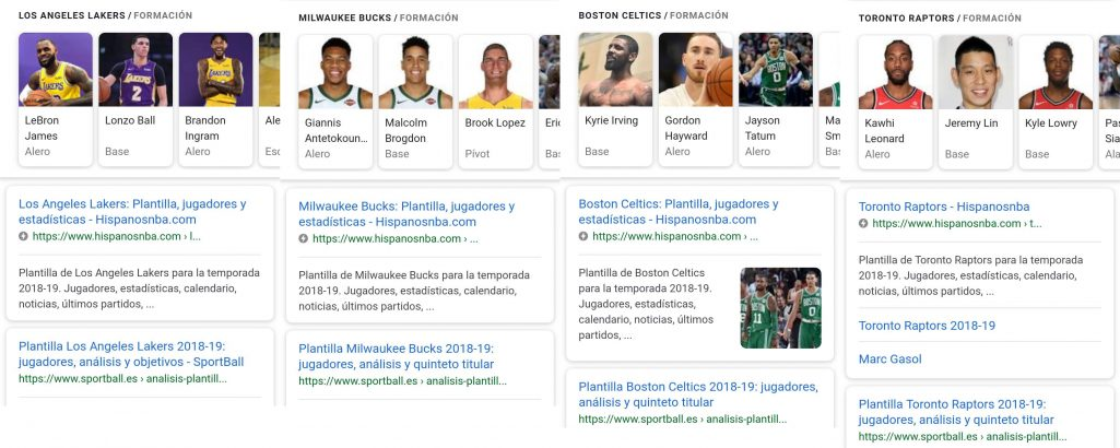 Posicionamiento organico de SportBall en Google