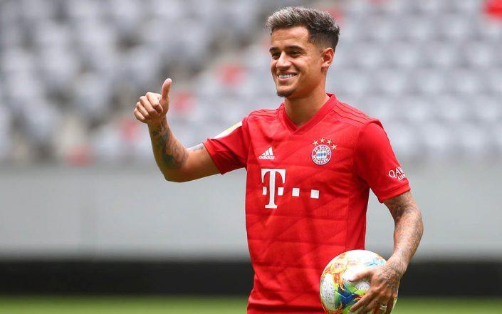 Philippe Coutinho, feliz durante su presentación con el Bayern Munich.