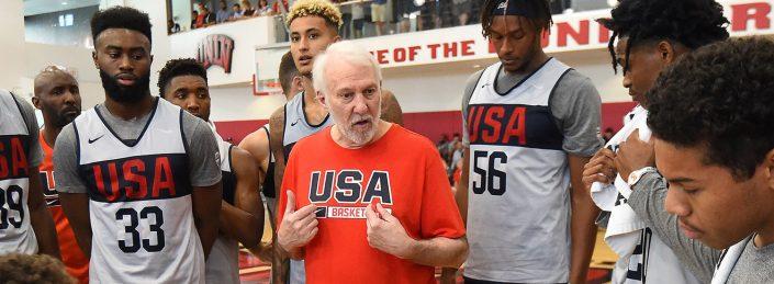 Popovich, seleccionador de Estados Unidos en el Mundial de baloncesto 2019.