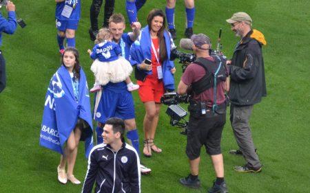 Jamie Vardy durante la celebración de la Premier League ganada con el Leicester City.